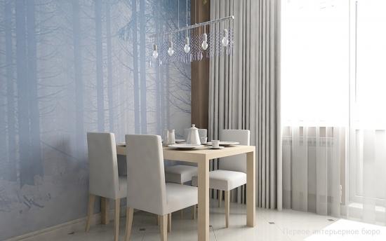 Dinning cu masa si scaune albe si tapet decorativ din matase pe perete