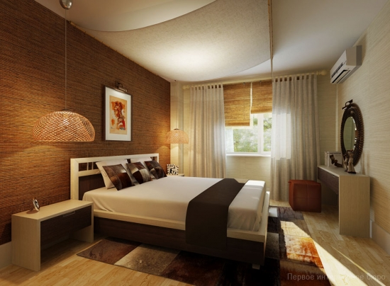 Dormitor Cu Perete Cu Textura Si Pat Pe Mijloc Alb