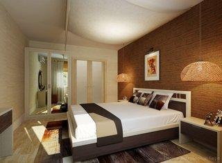 Doua corpuri de iluminat suspensie din nuiele impletite in lateralele patului