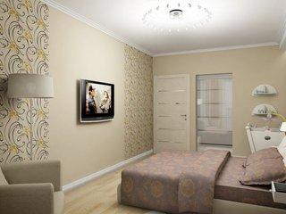 Televizor integrat in decorul dormitorului