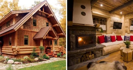 Desprinsa din povesti este aceasta cabana din busteni construita si amenajata in stil rustic