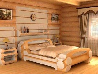 Decor dormitor cabana din lemn