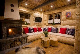 Living cu semineu cabana din lemn