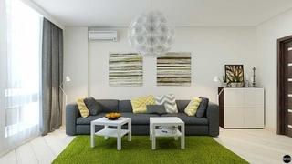 Design living alb gri