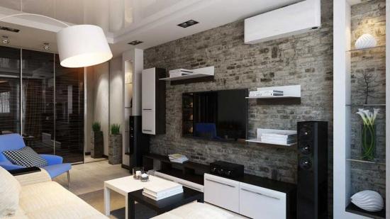 Living mic cu perete din piatra decorativa