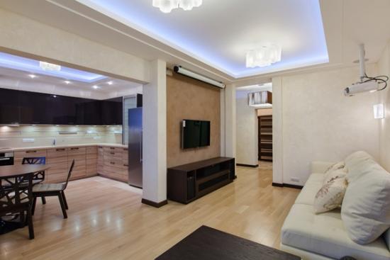 amenajare moderna de apartament tip studio cu iluminare cu led