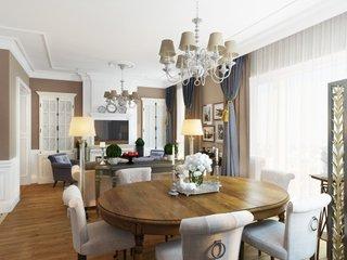 Amenajare neo clasica moderna pentru un dinning cu camera de zi