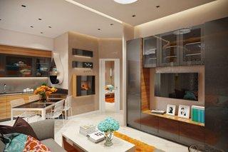 Apartament cu bucatarie si living open space cu mobilier moro inchis lucios si scaune transparente i