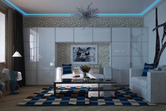 Biblioteca moderna din mdf alb finisaj super lucios cu fronturi inchise canapea alba covor albastru