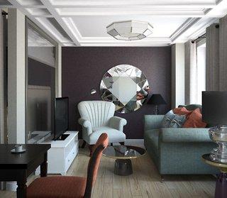 Camera de zi ingusta si mica cu perete de accent mov pruna si accente decorative cu oglinzi
