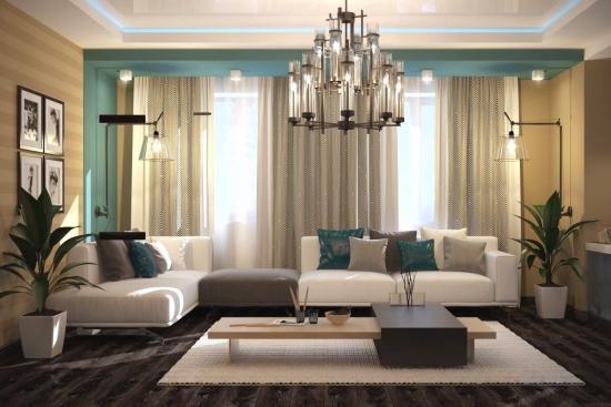 Canapele albe si perne decorative gri si scafa decorativa cu turcoaz
