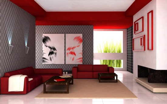 Canapele din piele rosie si pereti cu tapet gri argintiu decor modern in living minimalist