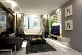 Living ingust cu perete gri si perete cu oglinda si comoda TV flotanta