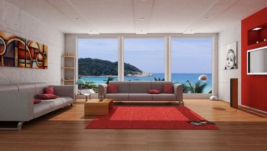 Perete de accent si covor rosu in decor minimalist modern de living
