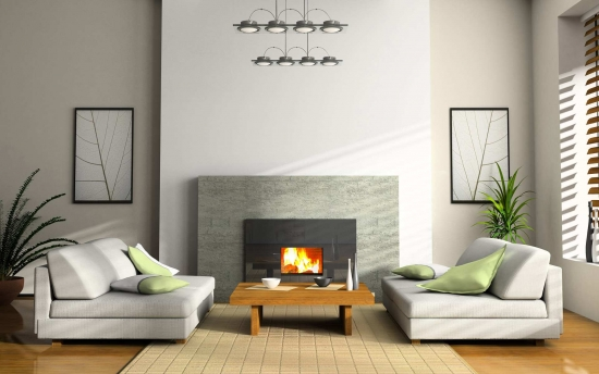 Semineu electric decorativ canapele albe si pereti albi un decor modern de living