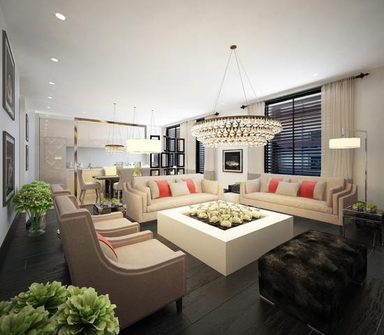 Set de canapele si fotolii crem deschis cu perne decorative culoarea roz somon in living cu parchet