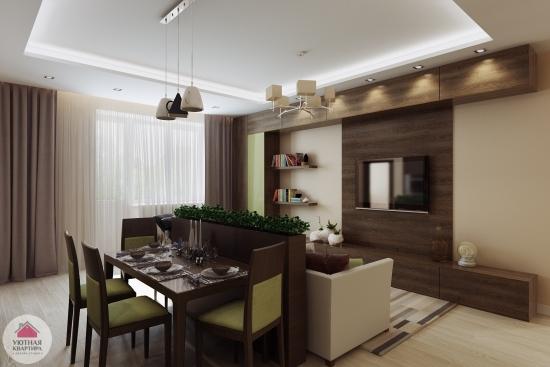 Varianta de separare zona de living de cea de dinning intr-un apartament mic