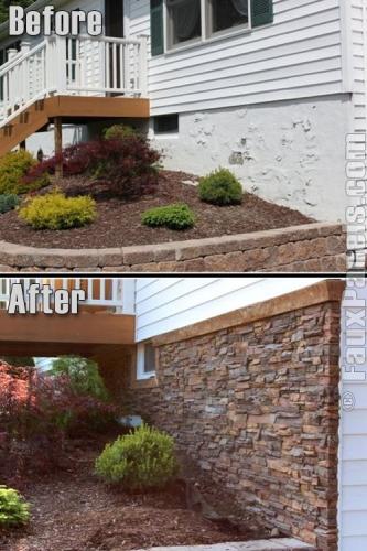Decor perete exterior cu piatra decorativa
