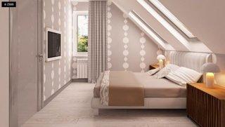 Dormitor mansarda cu pat mare