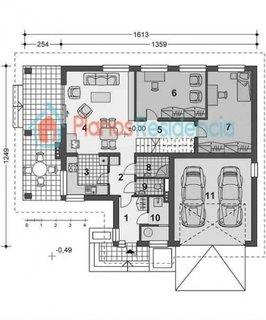 Plan parter casa cu 2 dormitoare la parter