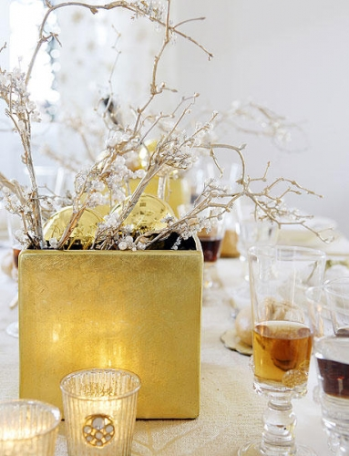 Aranjament auriu cu alb pentru sarbatorile de iarna
