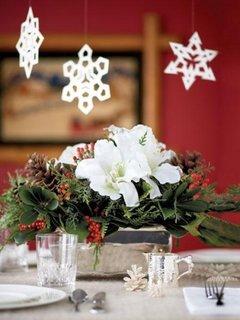 Idee de aranjament floral pentru masa de Craciun