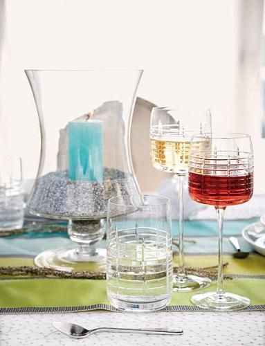 Vas de sticla transparenta cu sclipici argintiu si lumanare turcoaz