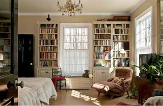 Biblioteca executata ca o rama in jurul ferestrelor