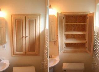 Sistem creativ de depozitare amplasat in perete deasupra vasului de wc