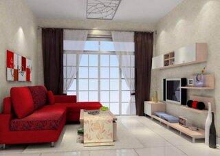 Canapea rosie in living cu pereti crem