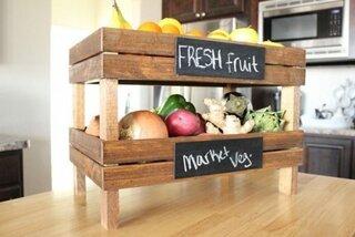 Organizator de fructe si legume pentru bucatarie ladite lemn