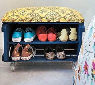 Raft pentru pantofi din ladita de lemn