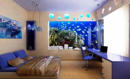 Dormitor cu acvariu mare