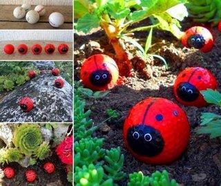 Buburuze decorative pentru gradina din mingii de golf