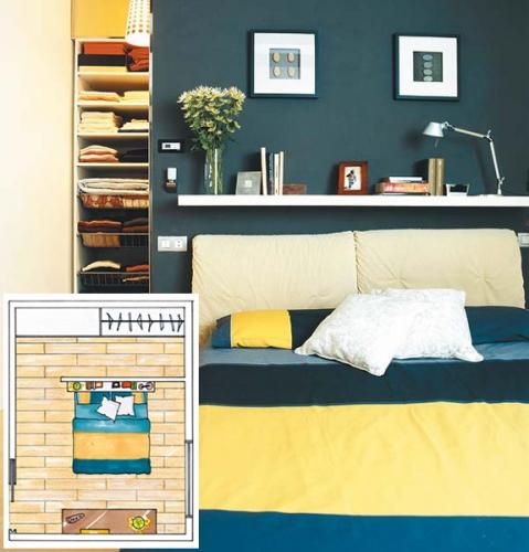 Dormitor cu dulap mascat de perete