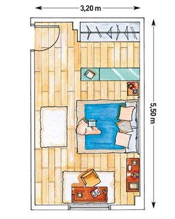 Schita dormitor cu perete de mascare dulap