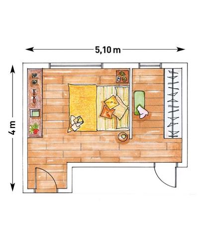Schita dormitor cu perete fals