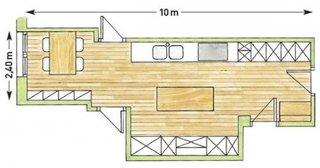 Plan 3 D amenajare bucatarie lunga prelungita in balcon