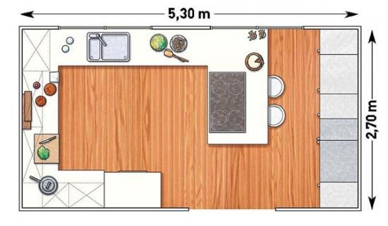 Plan bucatarie cu mobila asezata in U