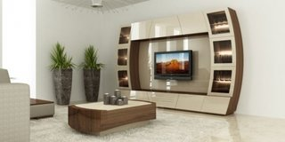 Mobilier lucios perete televizor