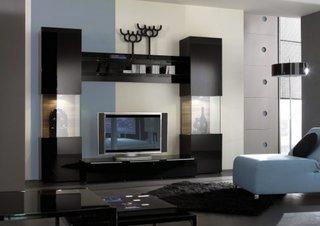 Mobilier negru perete televizor
