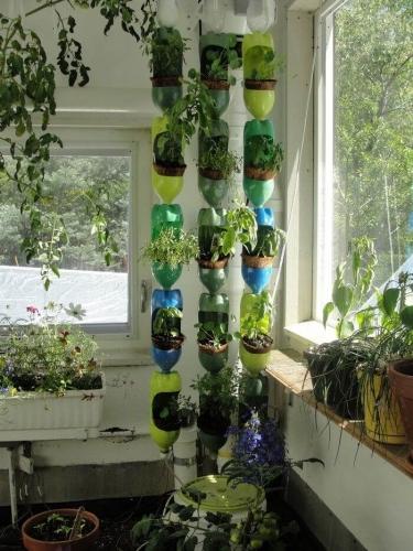 Gradina verticala din sticle de plastic