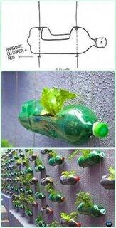 Idee amenajare perete cu sticle din plastic ca si ghivece
