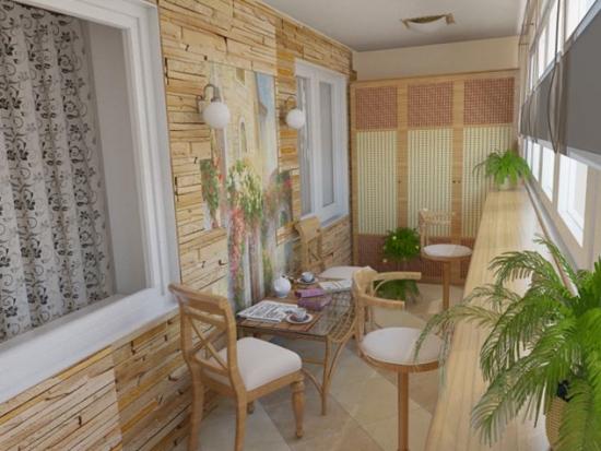 Balcon cu tapet decorativ stil piatra aparenta si mobilier din bambus