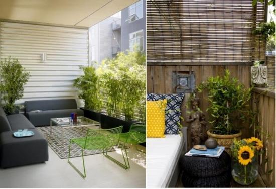 Balcon de apartament nou amenajat modern cu canapele