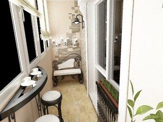 Balcon mic decorat cu masuta consola si scaune inalte si bancuta mica din fier forjat