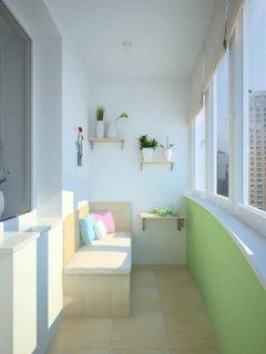 Bancuta din PAL natur asezata in colt si etajere suspendate pentr decorarea unui balcon