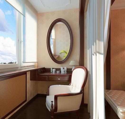 Masuta de toaleta amenajata in balcon prelungire la dormitor