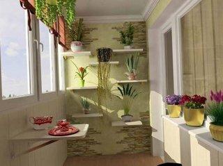 Masuta in perete si etajere suspendate asezate asimetric in balcon