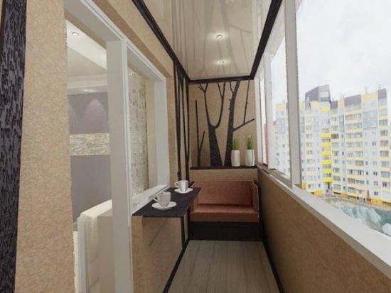 Pereti cu tencuiala decorativa crem pentru un balcon mic